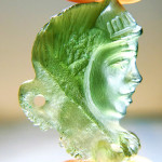 Carved moldavite - lady
