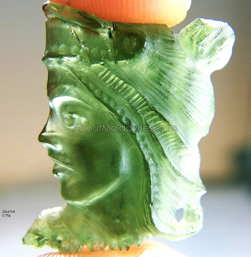 Carving - Lady (from moldavite)