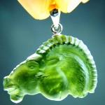 Carving (moldavite) - pendant - Capricorn