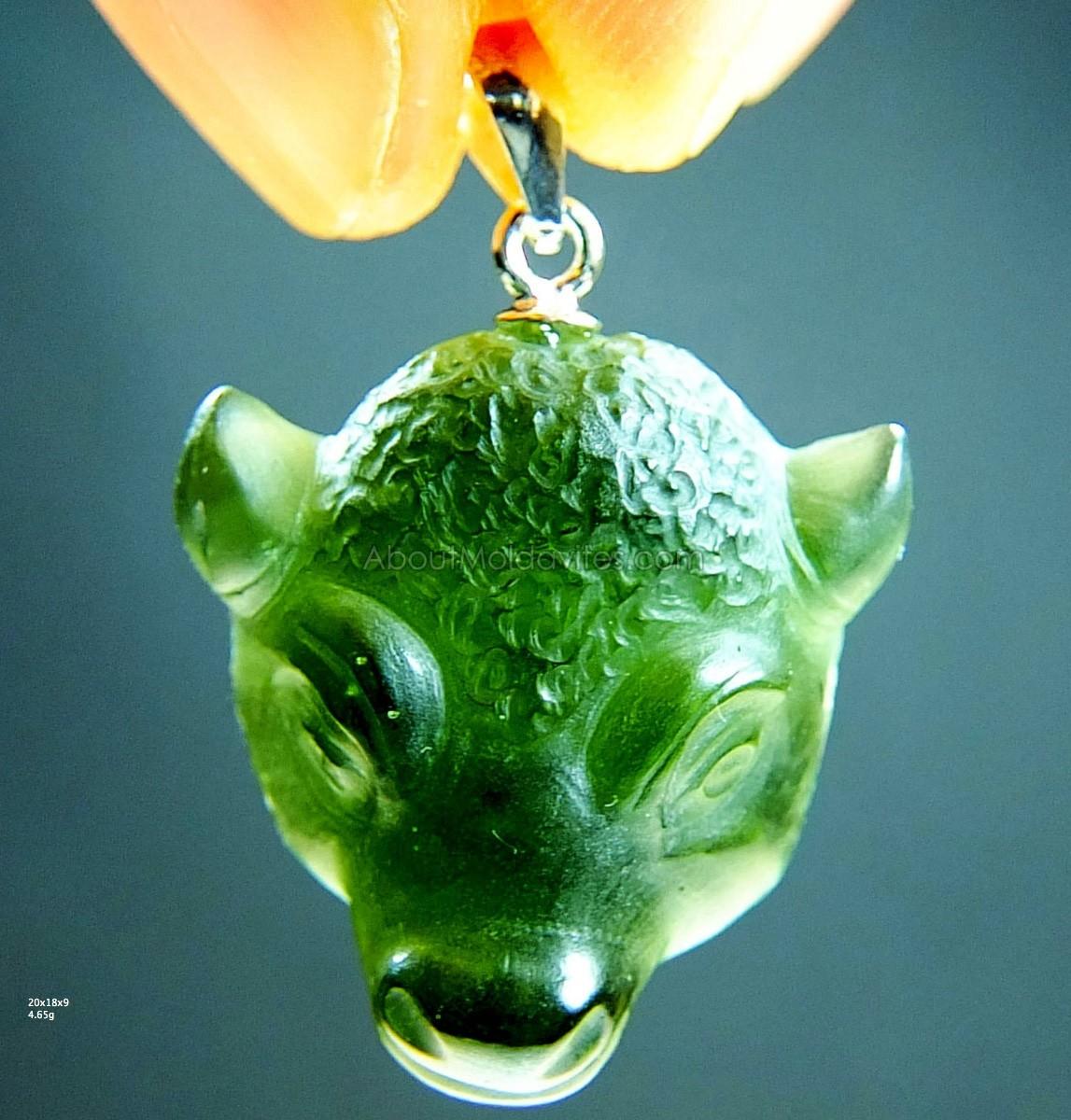 Carving - the Bull (pendant - moldavite)