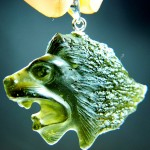 Leo (the Lion) - handmade carving - moldavite&silver