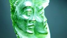 Gemini (the Twins) - pendant - carved moldavite