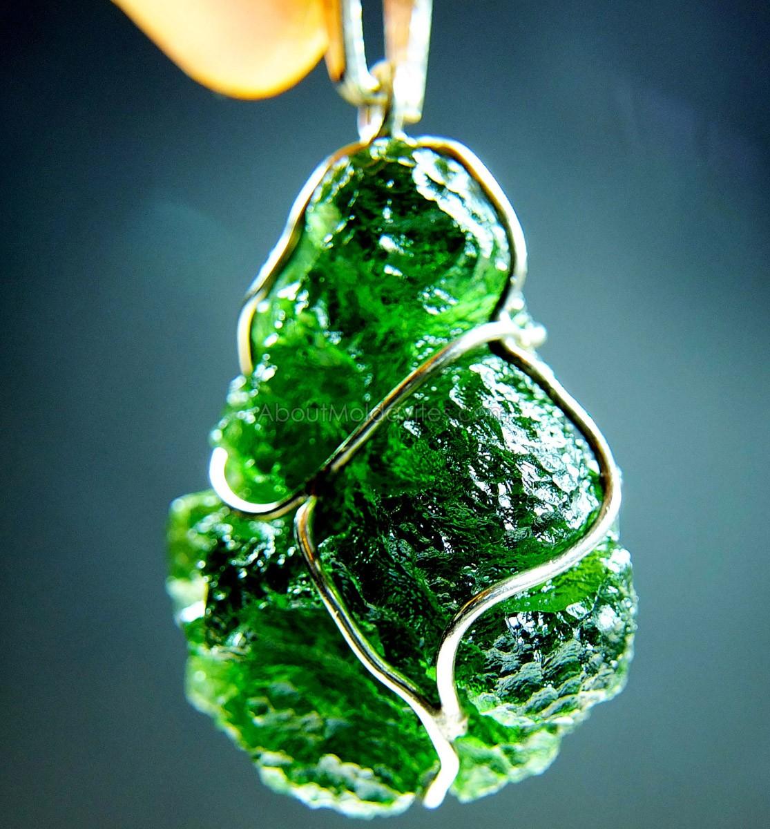 Pendant - wire wrapped moldavite