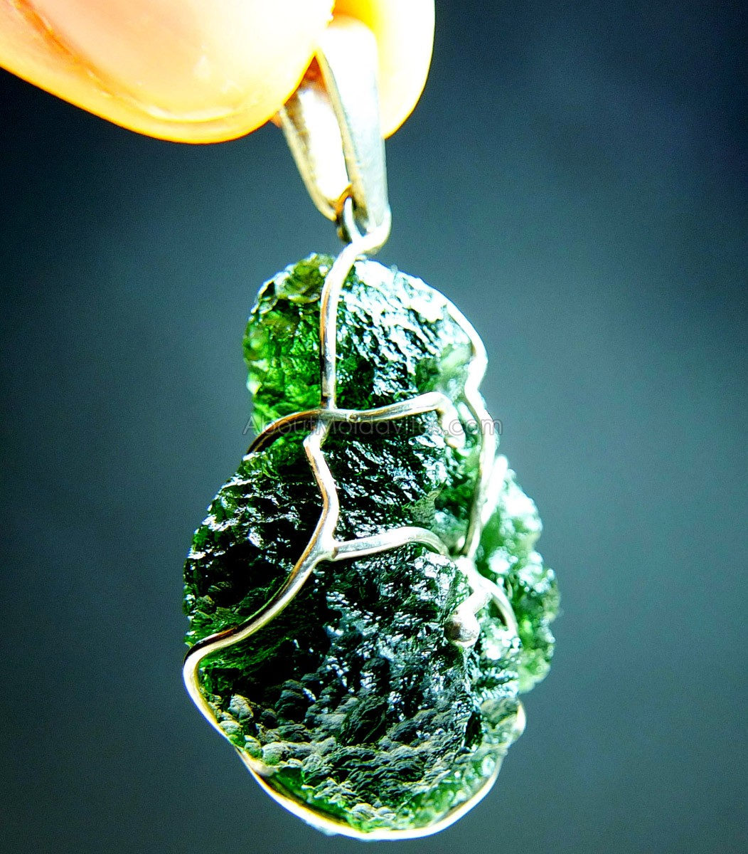 Pendant - wire wrapped moldavite
