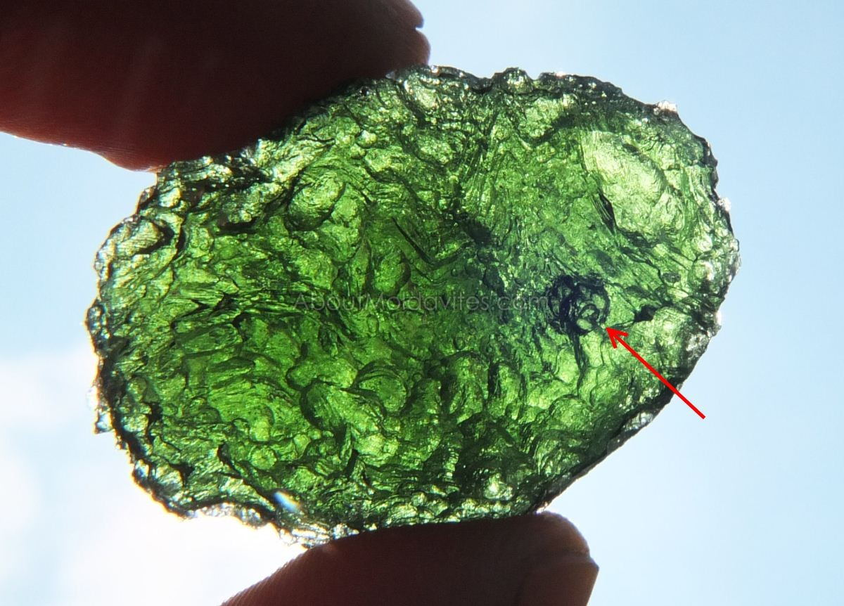 Clesed bubble in moldavite