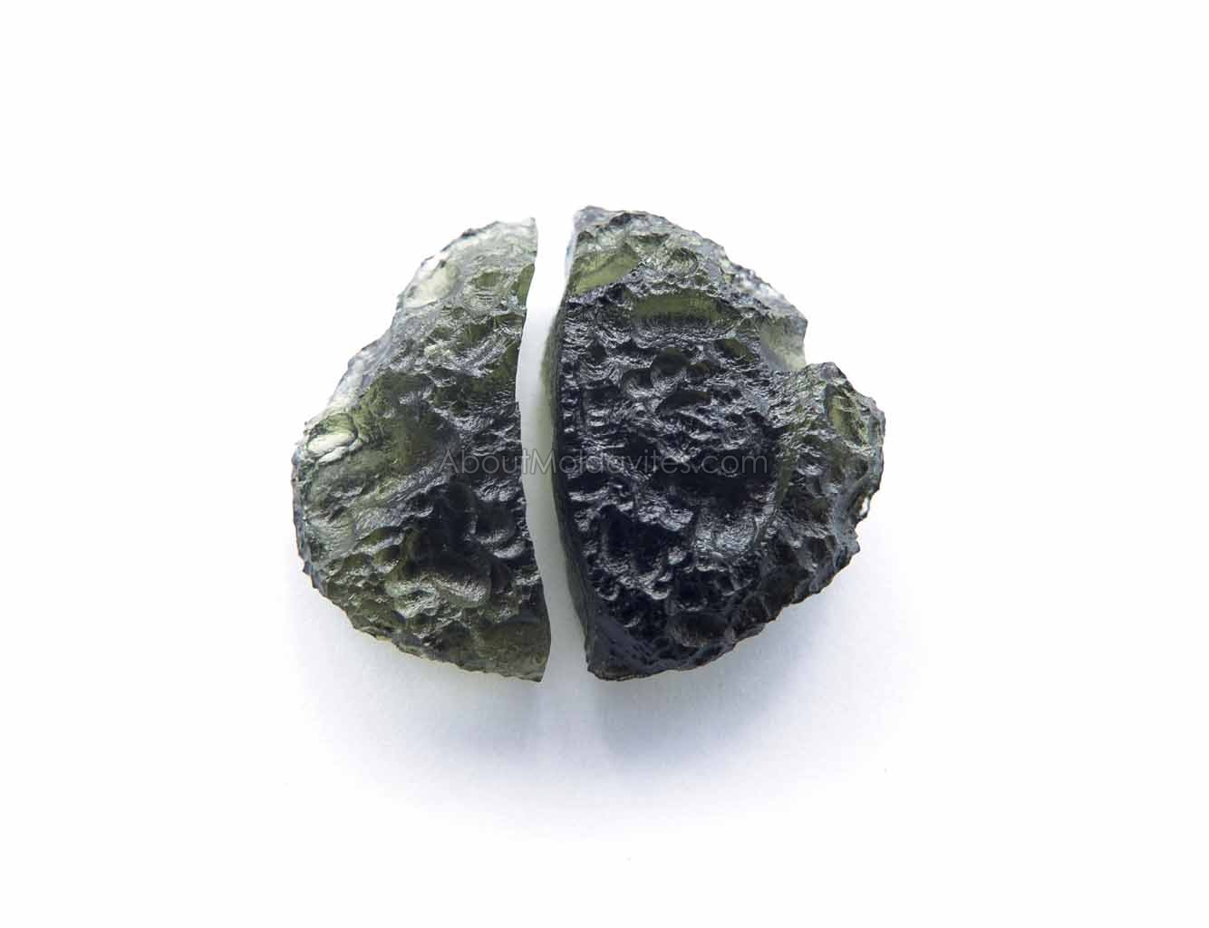 Natural diveded moldavite - elipsoid