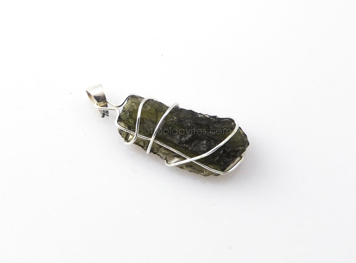 Silver wire wrapped moldavite - pendant