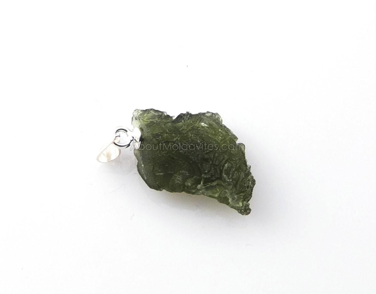 Raw moldavite + silver - pendant
