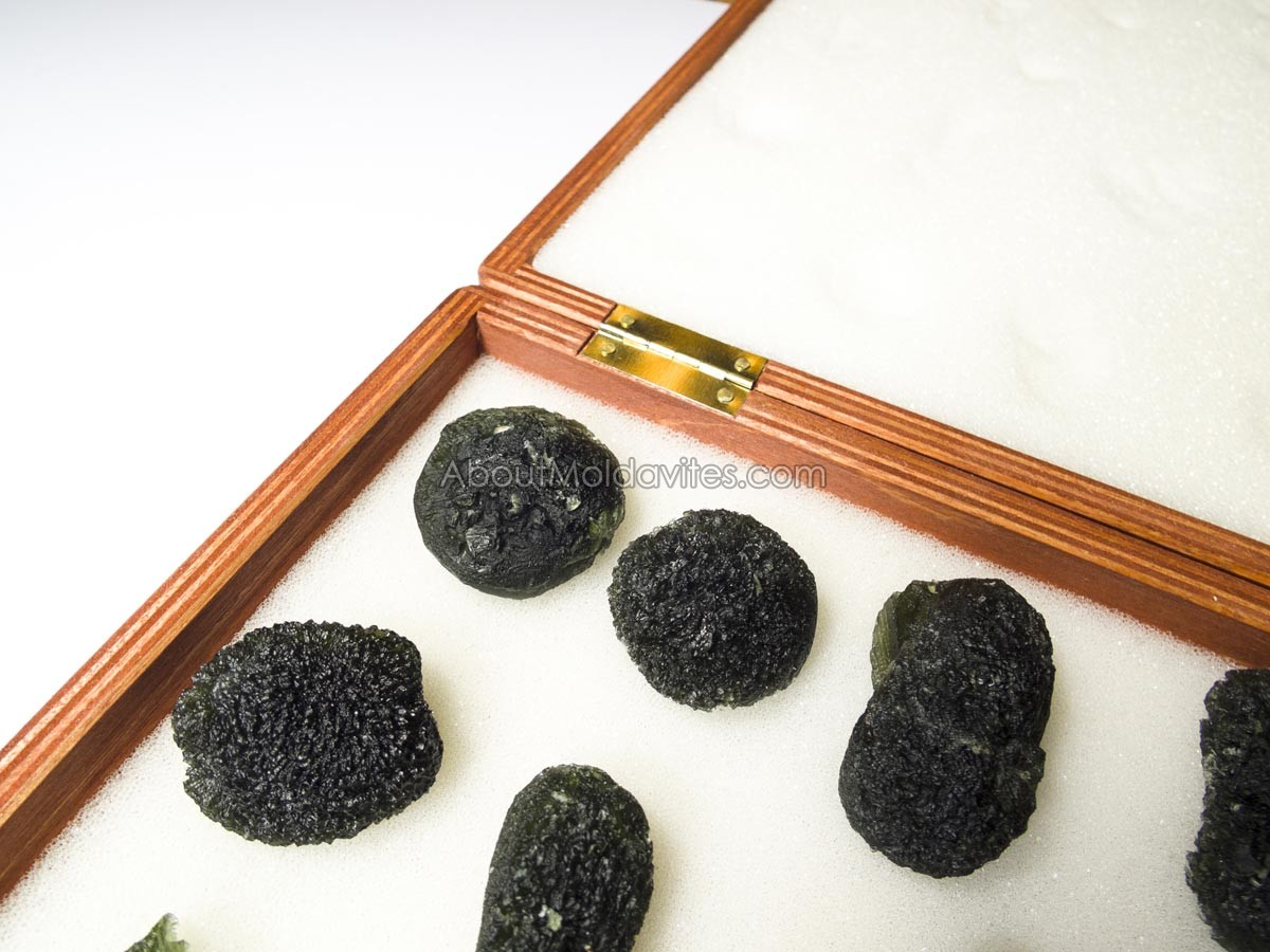 Not fully filled case with foam for large moldavites