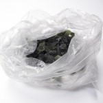 Moldavites in plastic bag