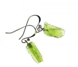Drop earrings - moldavite