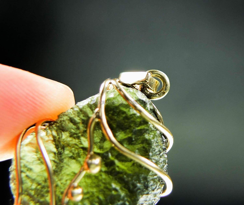 Moldavite gold pendant