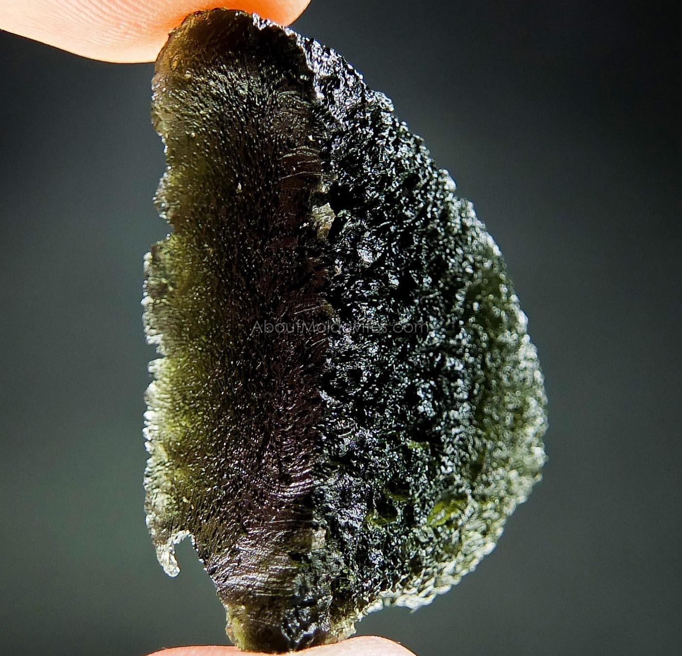 Naturally fragmented moldavite