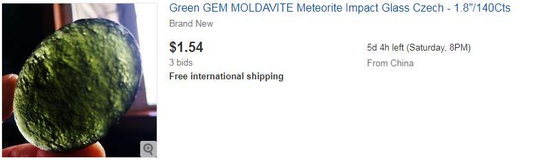 """Green GEM MOLDAVITE Meteorite Impact Glass Czech - 1.8""""/140Cts"""