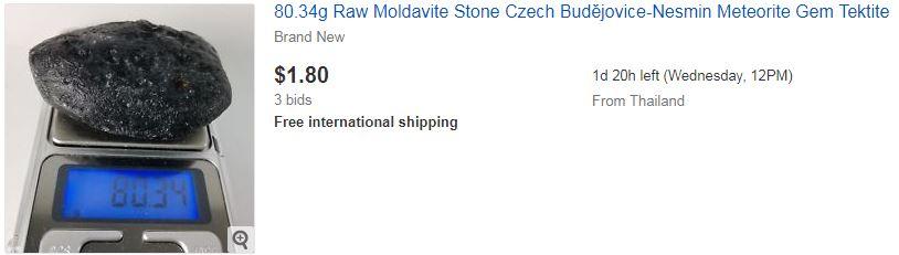 34g Raw Moldavite Stone Czech Budějovice-Nesmin Meteorite Gem Tektite