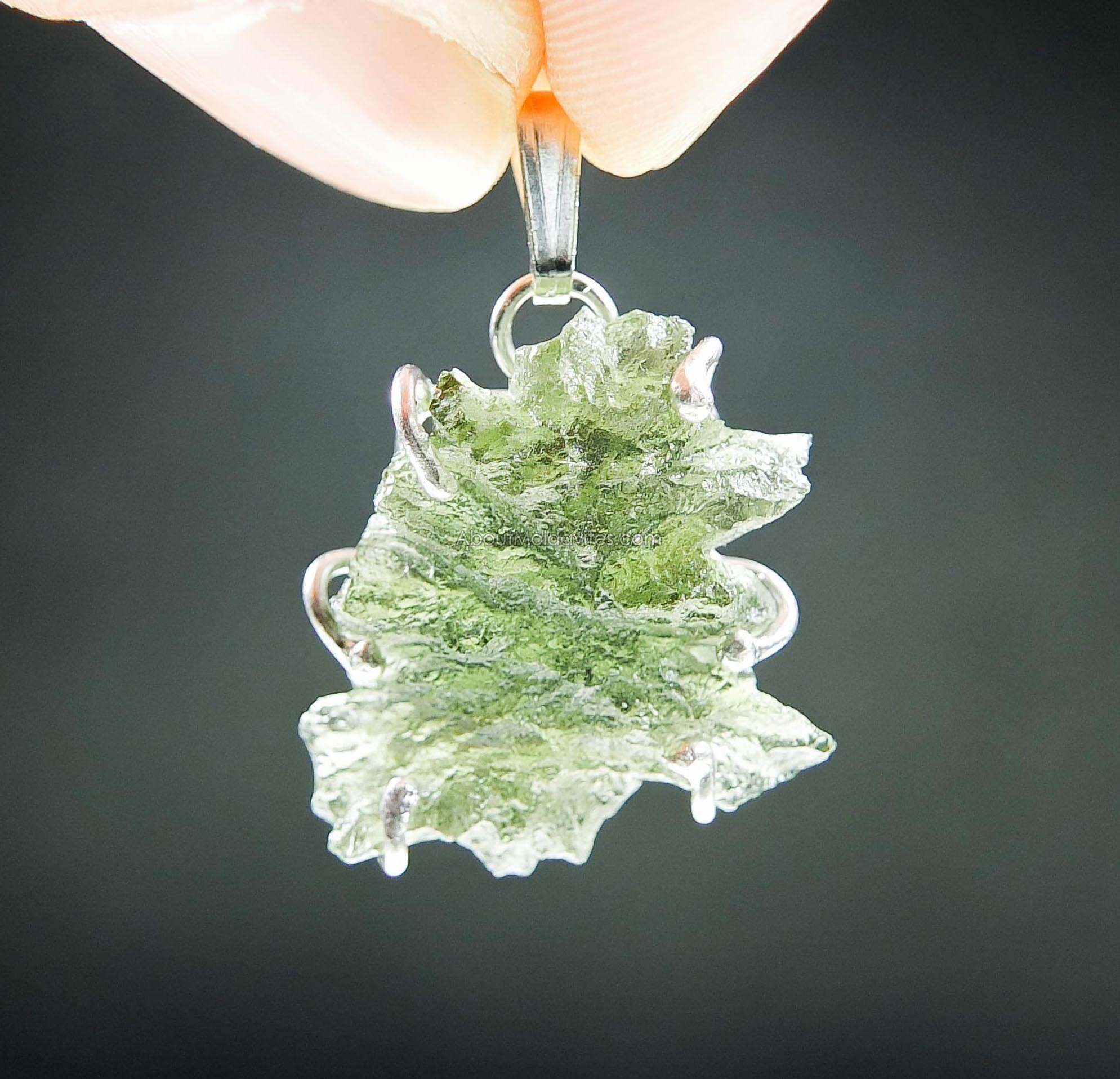 Pendant - moldavite from Besednice (hedgehog)